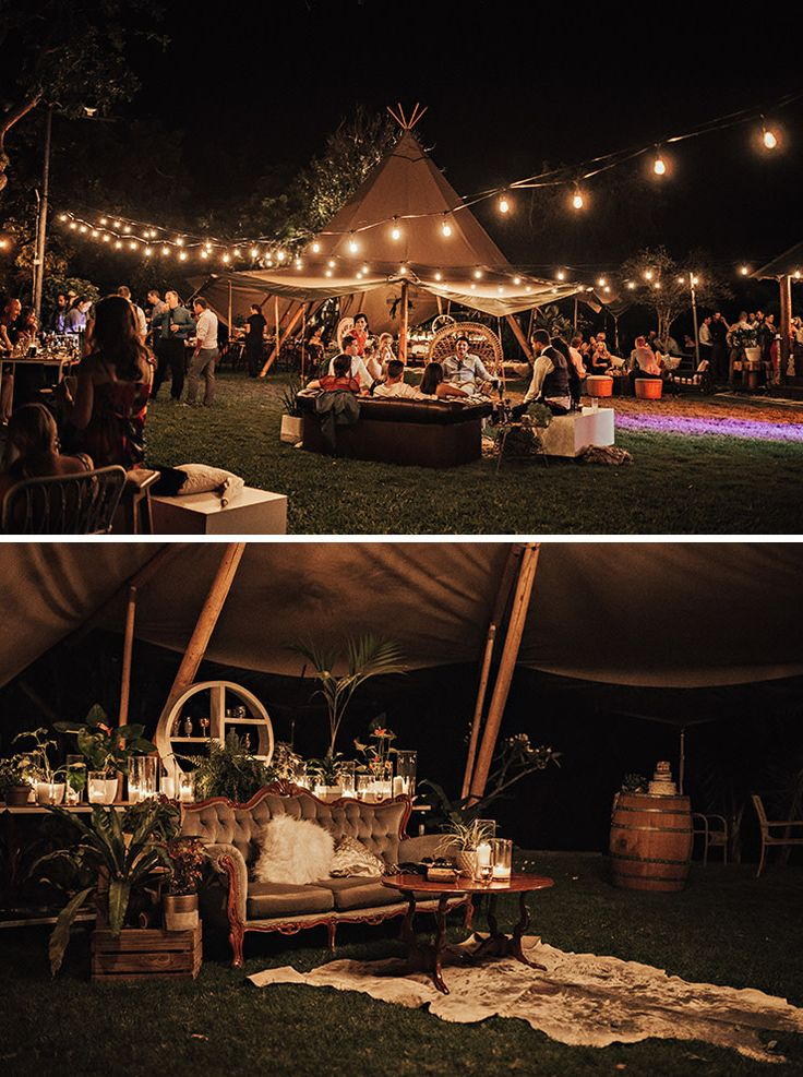 Boho outdoor cocktail style wedding with tipi, festoons, potted plants and vintage lounge furniture Vicki Miller Photography