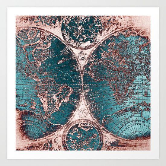 Antique World Map Pink Quartz Teal Blue Art Print