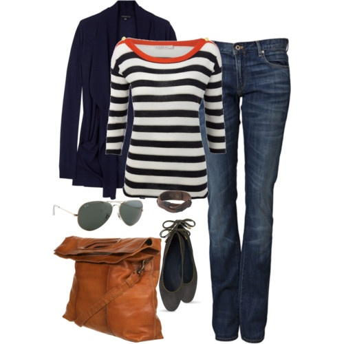Effortless and comfortable.Fashion, Casual Outfit, Casual Friday, Fall Wardrobes, Style, Navy Stripes, Clothing, Fall Outfit, Leather Bags