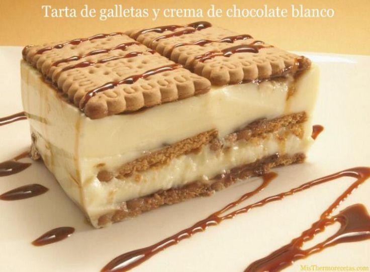 Tarta de galletas y crema de chocolate blanco | Comparterecetas.com
