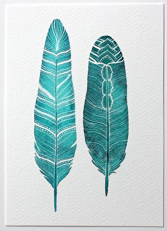 Feather Watercolor Art Painting Turquoise Art Print by RiverLuna