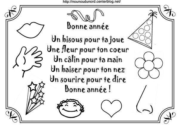Coloriage poème et image Bonne année