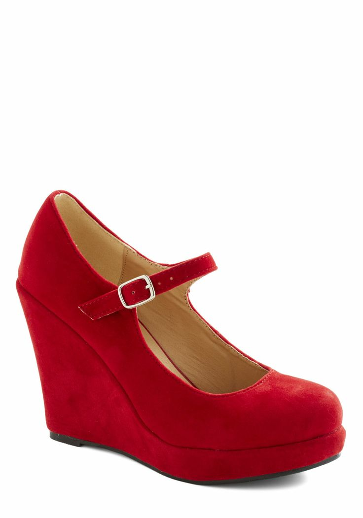 Take the Podium Wedge in Red Size: 10 (Fits like a 9 1/2) $34.99 Whether you're giving a speech or accepting an award, you'll look commanding and chic in these red wedges! Luxe vegan faux suede forms the breathtaking base for these mega-cute platform Mary Janes. Under a peplum sheath and white accessories, the high style and classic cut of these heels perfectly prep you for your moment in the spotlight!