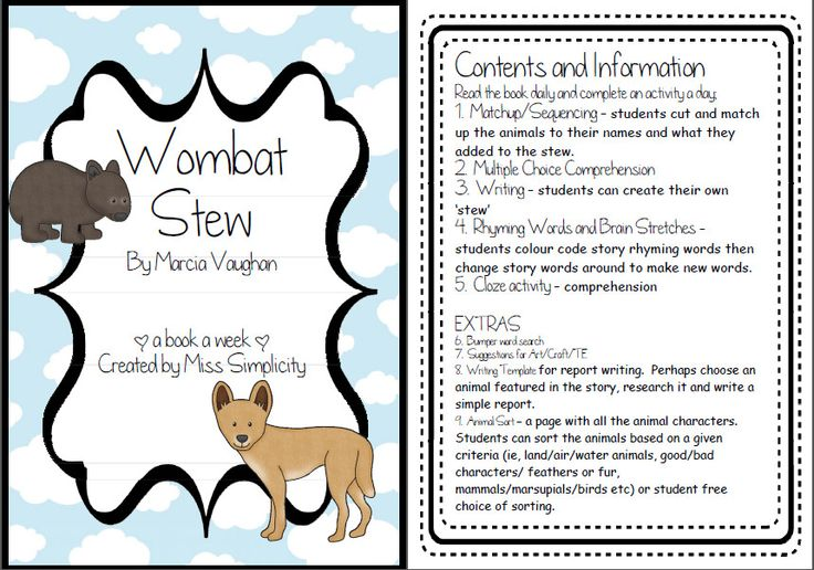 Wombat Stew ~ A week of reading activities - Teacher's Marketplace, the online marketplace for teachers, by teachers, with original educational digital resources, lesson plans, worksheet, printables and more!
