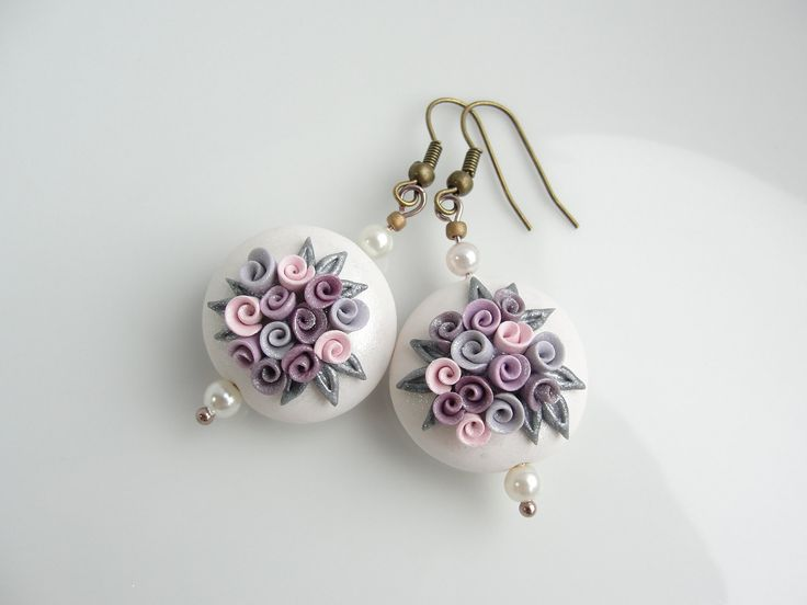 polymer clay beads | Polymer clay earrings lentil beads with roses in cream, pink and grey ...