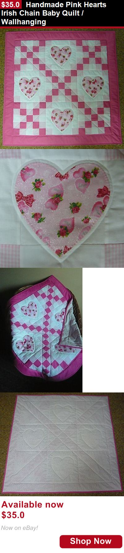 Quilts And Coverlets: Handmade Pink Hearts Irish Chain Baby Quilt / Wallhanging BUY IT NOW ONLY: $35.0