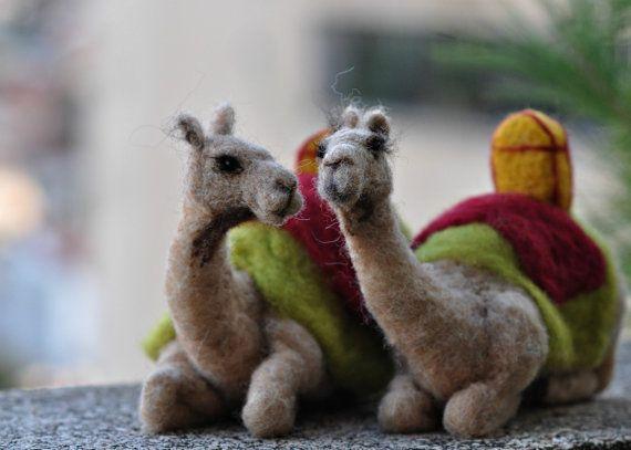 Needle felted-Nativity Set-Nativity-Waldorf--Waldorf -sitting Camel-  doll- wool soft sculpture-needle felt by Daria Lvovsky