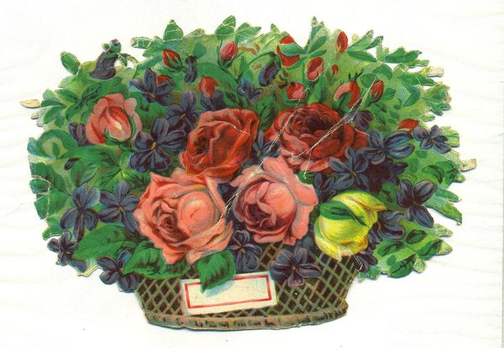 large  victorian scrap basket of flowers