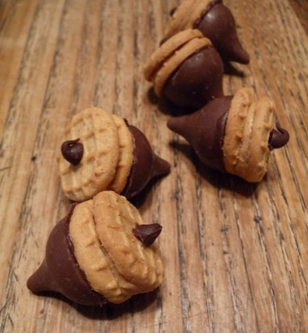Chocolate Kiss Acorn Treats with Nutter Butters