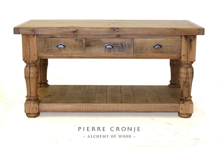 A Pierre Cronje refectory kitchen island in French Oak.