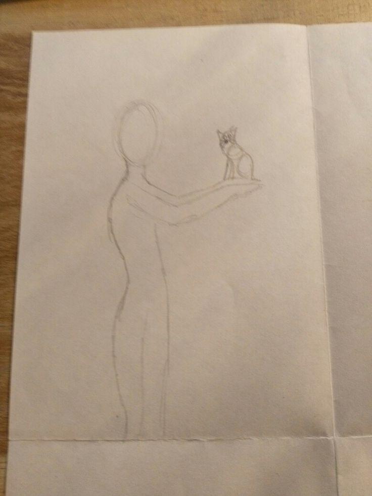 Les 3: Hier is nog een ontwerp van mij. Het meisje houdt een kat vast op haar handen en is kijkt er naartoe. Mijn voorkeur gaat uit naar dit ontwerp omdat ik katten leuke dieren vindt.