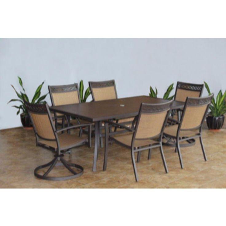 Signature Design by Ashley Carmadelia Brown Dining Set (Set), Size 7-Piece Sets, Patio Furniture (Aluminum)