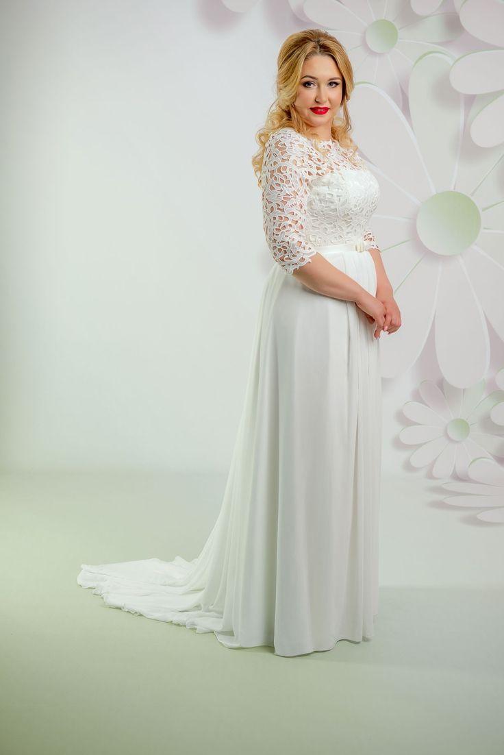 Nádherné svadobné šaty s padavou sukňou a s čipkovaným živôtikom
