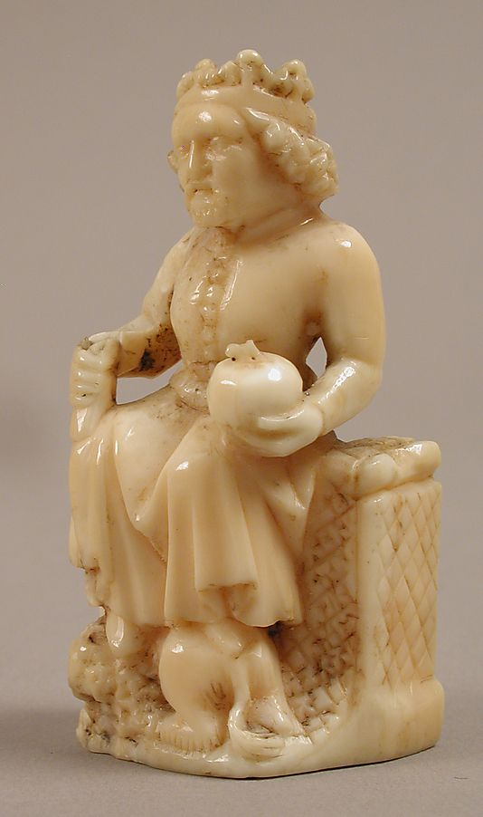 Chess Piece, the King, carved from bone or ivory. Circa the second half of 14th century (late 1300s).