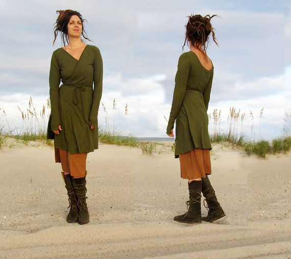 Short Flip Wrap Dress hemp/organic cotton knit by gaiaconceptions, $135.00