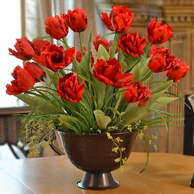 Silk Flower Arrangment  Red Parrot Tulip Centerpiece AR314. Spring has come! These beautiful