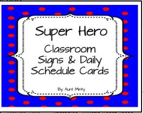 Decorate your classroom using these super cute super hero schedule cards and labels. The cards are designed to be used on your master schedule as well as your daily schedule. Simply print the cards out, laminate them, and attach them to the appropriate schedule. There are 78 cards total.