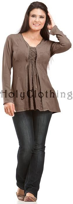 Monique Classic Gypsy Chic Embroidery Boho Flowing Blouse Tunic
