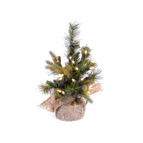 12 tabletop christmas tree pre lit with burlap base http - 12 Pre Lit Christmas Tree