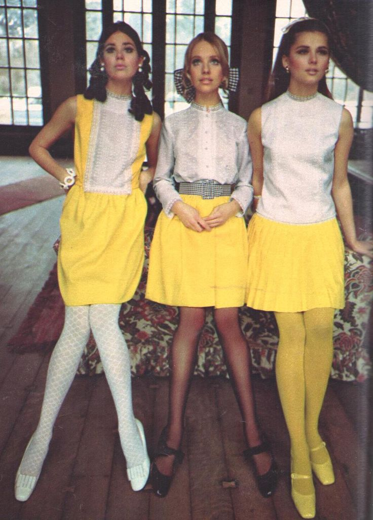 1968 Vicky Vaughn Colleen Corby late 60s mod dress yellow white skirt blouse tights shoes hair vintage fashion
