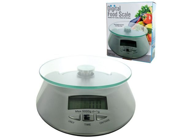 Battery Operated Digital Food Scale, 1 - Take the guesswork out of eating with this portable digital food scale. It is the perfect solution for cooks, dieters, families and anyone else who needs precisely measured food portions. Measures up to 5000 grams or 176 ounces. Comes with a glass platform for easy cleaning. Batteries are included.-Colors: black,silver. Material: glass,metal,plastic. Weight: 1.5417/unit