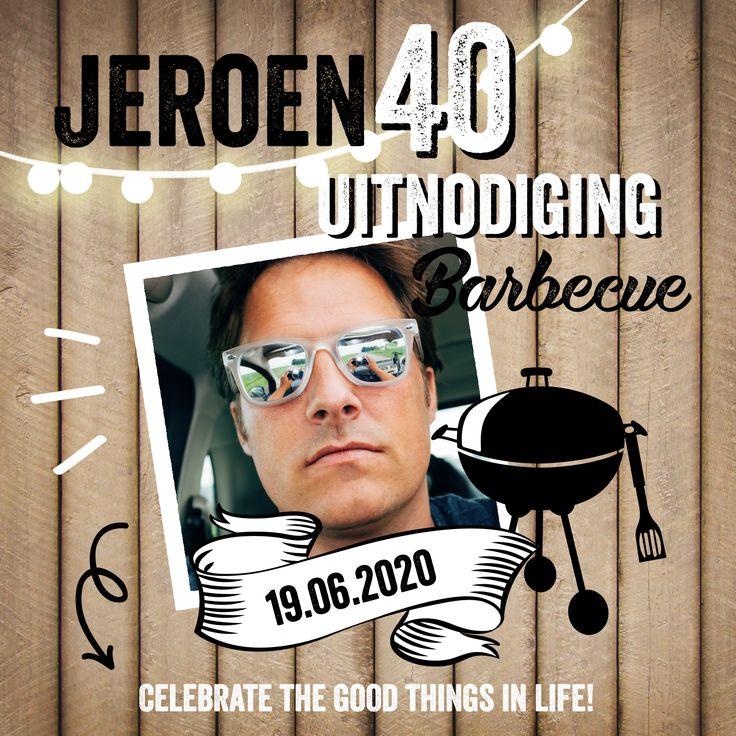 Stoere uitnodiging voor je verjaardag met barbecue. Leuk voor in de zomer!
