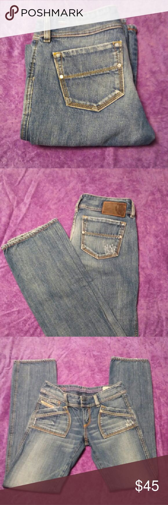 Ladies Deisel Jeans NWOT Ladies Deisel Jeans NWOT, tag says 27W 32L fits like a 25W. Medium wash with light wash on the fronts of the thighs. Diesel Jeans Straight Leg