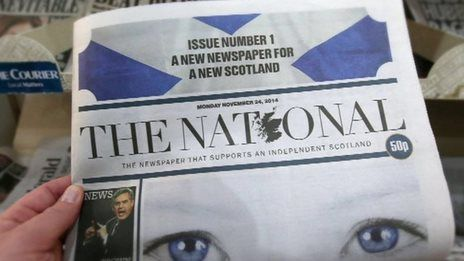 National editor Richard Walker on new Scottish paper -  The UK's newest newspaper was launched in Scotland on Monday, initially on a 5 day trial, & it will take a pro-Scottish independence line. Richard Walker, editor of The National, said the first day's 60,000 print run was a sell-out, & digital subscribers were joining up on Sunday at the rate of 20 a minute.