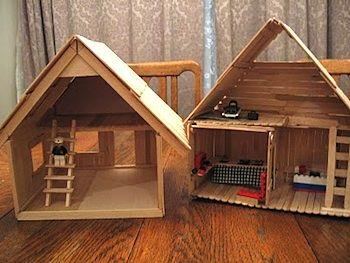 Popsicle Stick HousesPopsicles Crafts, Sticks Crafts, Little House, Dolls House, Doll Houses, House Man, Popsicle Sticks, Popsicles Sticks, Sticks Dolls