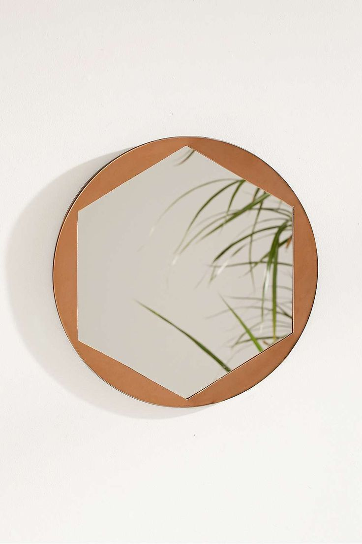 Metal Overlay Hexagon Mirror