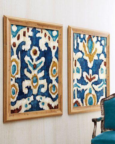 ikat fabric framed as art