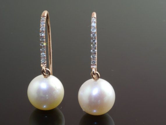 14ct Diamond hooks with Freshwater Pearls by kimberleyraine