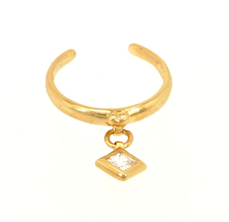 14K Yellow Gold Adjustable CZ Square Charm Toe Ring Manufacturer: SBC Total Weight: 1.0 g This beautiful toe ring will look great on anyone! #toering