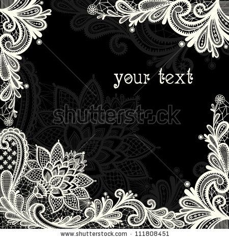 Lace  background with a place for text. Black and white lace vector design. by svaga, via ShutterStock