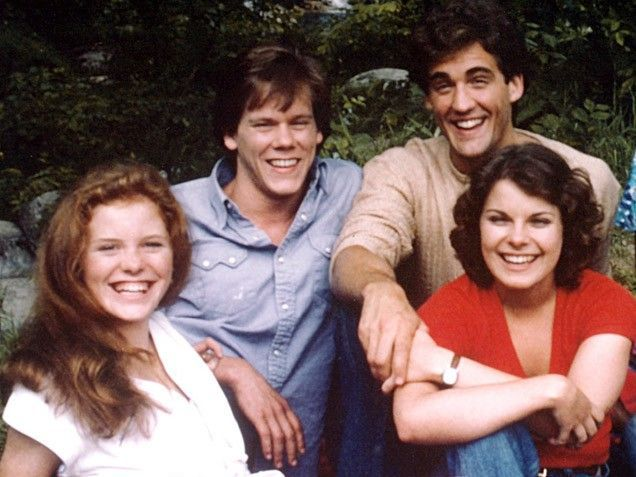 """Kevin Bacon got his start on CBS' Guiding Light in 1980, as adolescent boozer Timothy """"TJ"""" Werner (pictured, second from left, with Kristin Vigard, John Wesley Shipp and Marsha Clark)."""