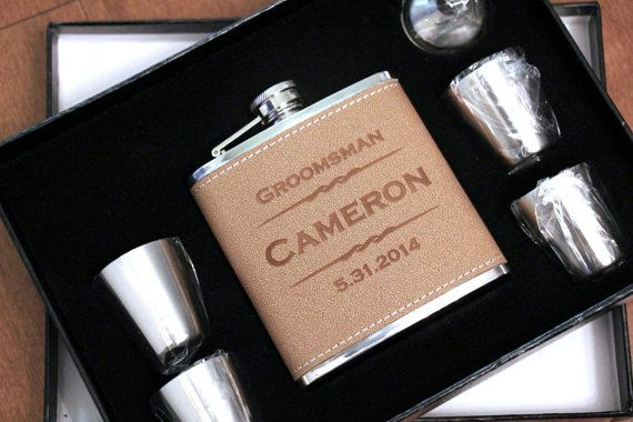 Groomsmen Gift, Personalized Leather Hip Flask, Groomsmen Flask, Engraved Flask, Monogram Flask, Custom Flask, Will You be my Groomsman $15