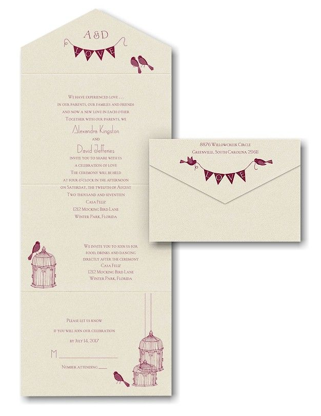 banners and birds seal n send wedding invitation - Seal And Send Wedding Invitations