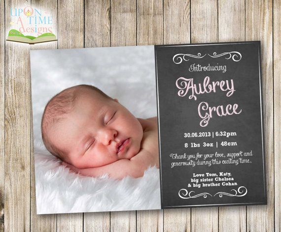 Printable Chalkboard BIRTH ANNOUNCEMENT with Photo - Pink
