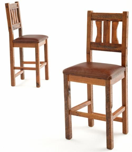 Salvaged Barnwood Bar Stools With Leather Seats Rustic Barnwood Mission  Style
