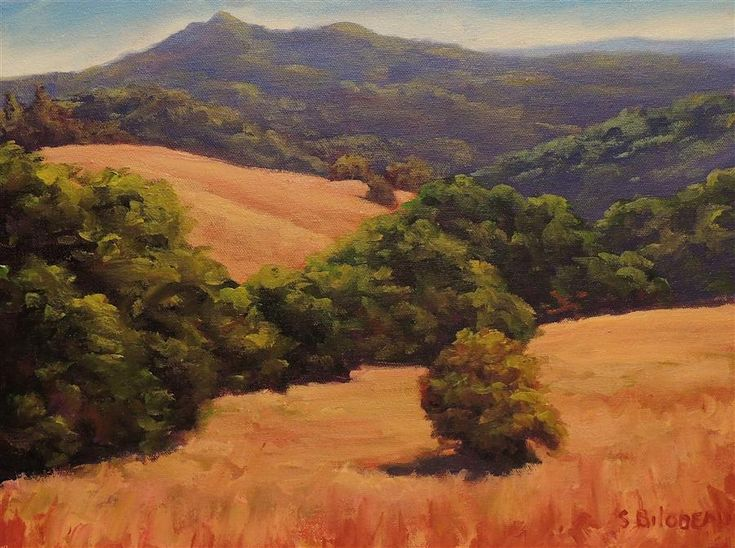 "Original art for sale at UGallery.com | Mt Tam from Marin's Golden Hills by Steven Guy Bilodeau | $500 | oil painting | 12"" h x 16"" w 