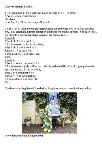 Granny Chevron Blanket instructions... Please click on all sizes to enlarge and print your own copy...