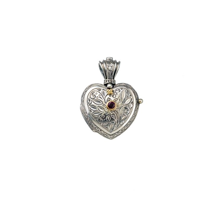 Gerochristo Jewelry Heart locket pendant in Sterling silver, gold 18k and ruby.