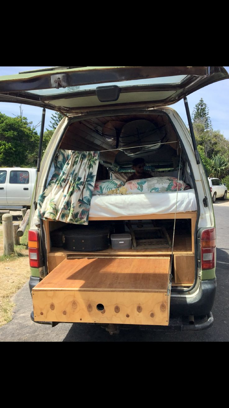 Toyota Hiace Camper Van Interior Raised Bed Slide Out