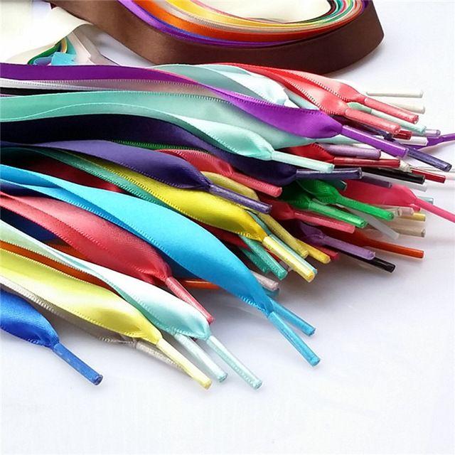 Nuevo 20 Color 2 cm Ancho Estatina Cinta De Seda Longitud de la Zapatilla de deporte de Zapatos Zapatos Deportivos Atan Cordones de Los Zapatos 90/120 cm Envío de La Gota