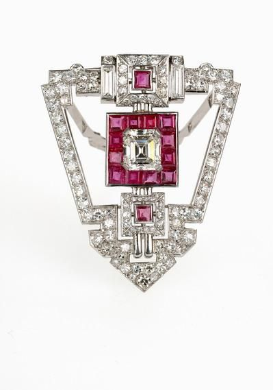 Art Deco Diamond  and Ruby Dress Clip
