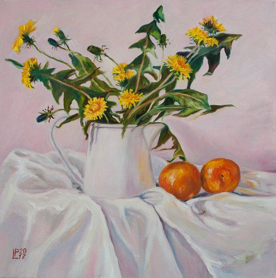 Hey, I found this really awesome Etsy listing at https://www.etsy.com/uk/listing/507210429/oil-painting-still-life-with-dandelions