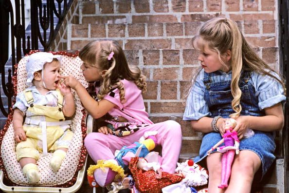 Full House - Season 1, 1987. Mary Kate/Ashley Olsen, Jodie Sweetin and Candace Cameron played sisters Michelle, Stephanie and D.J. Tanner,