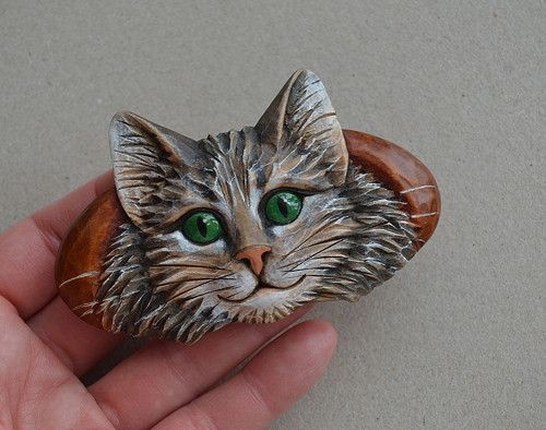Kočička zelenooká- sponka do vlasů