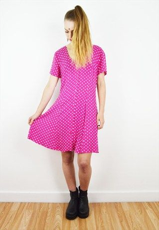 90's+Pink+Polka+Dot+Vintage+Mini+Dress