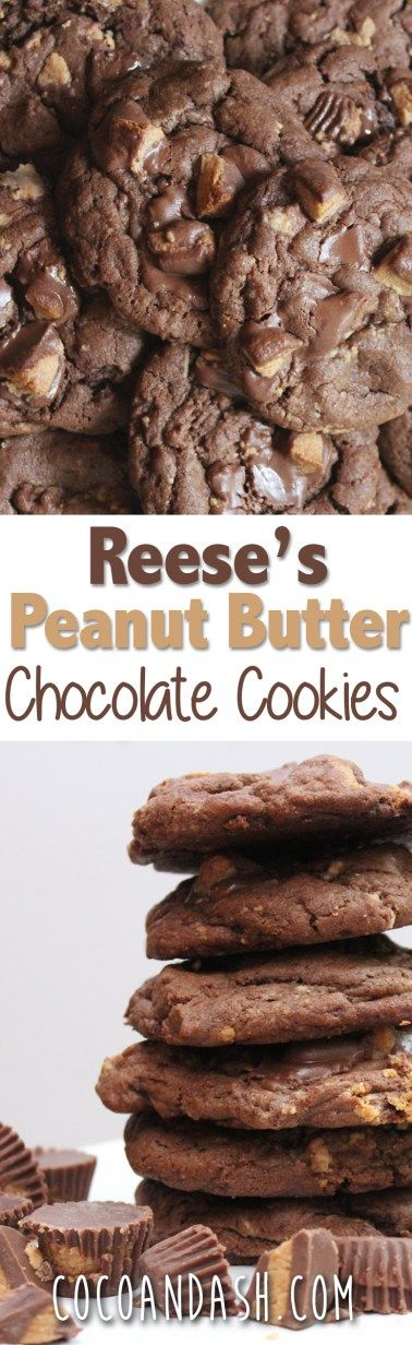 These Reese's Peanut Butter Chocolate Cookies are the best Cookies ever!! So rich and filled with tons of Reese's Peanut Butter Cups! #chocoalte #peanutbutter #cookies